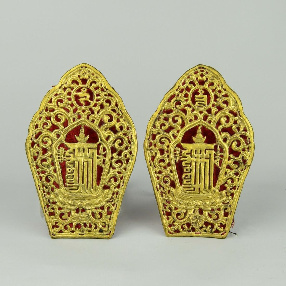 A Pair of Chinese Gilt Bronze Buddha Shrine