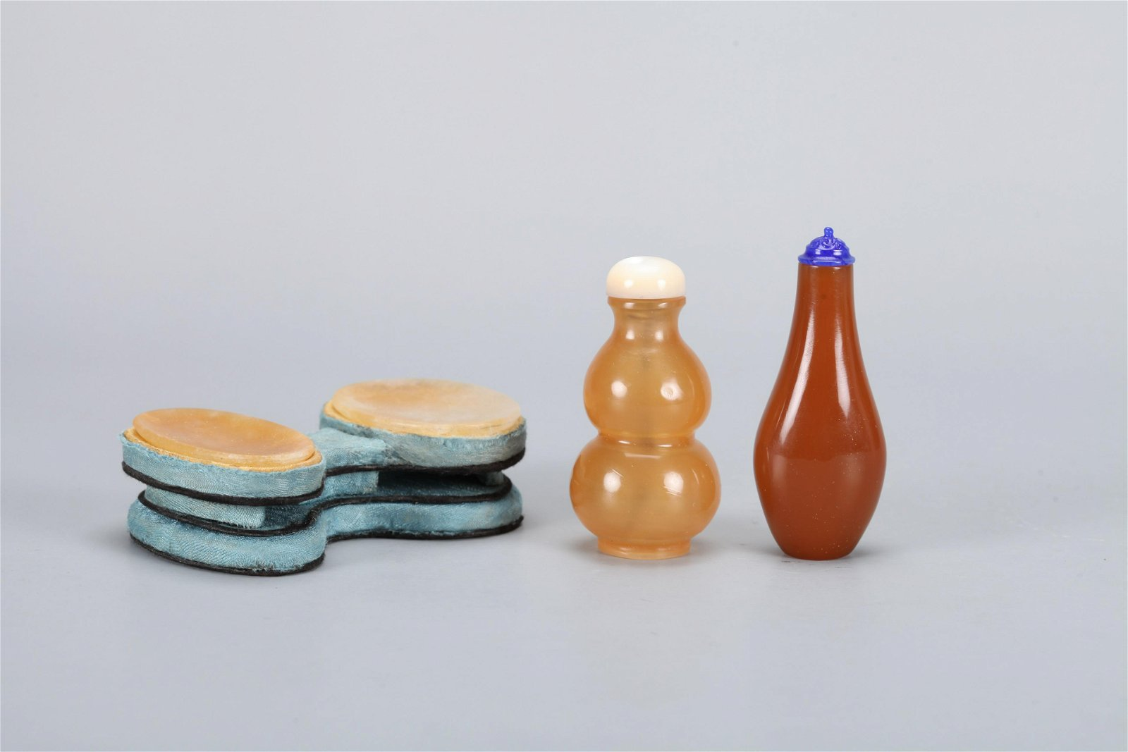 Two Chinese Carved Agate Snuff Bottle