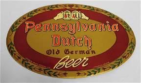 """""""Pennsylvania Dutch Old German Beer"""" Tin Sign"""