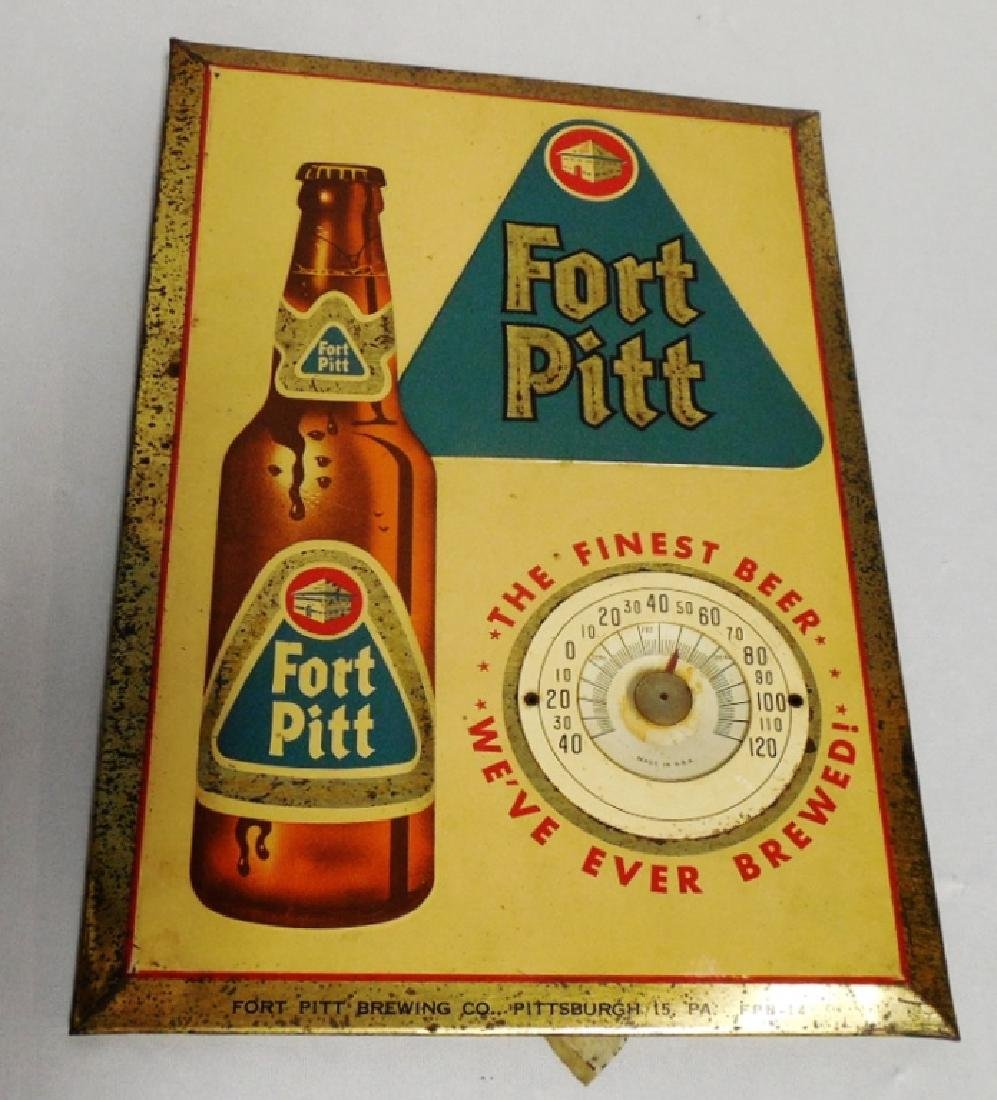 """Fort Pitt"" Cardboard Ad. w/ Tin Frame and Temp"