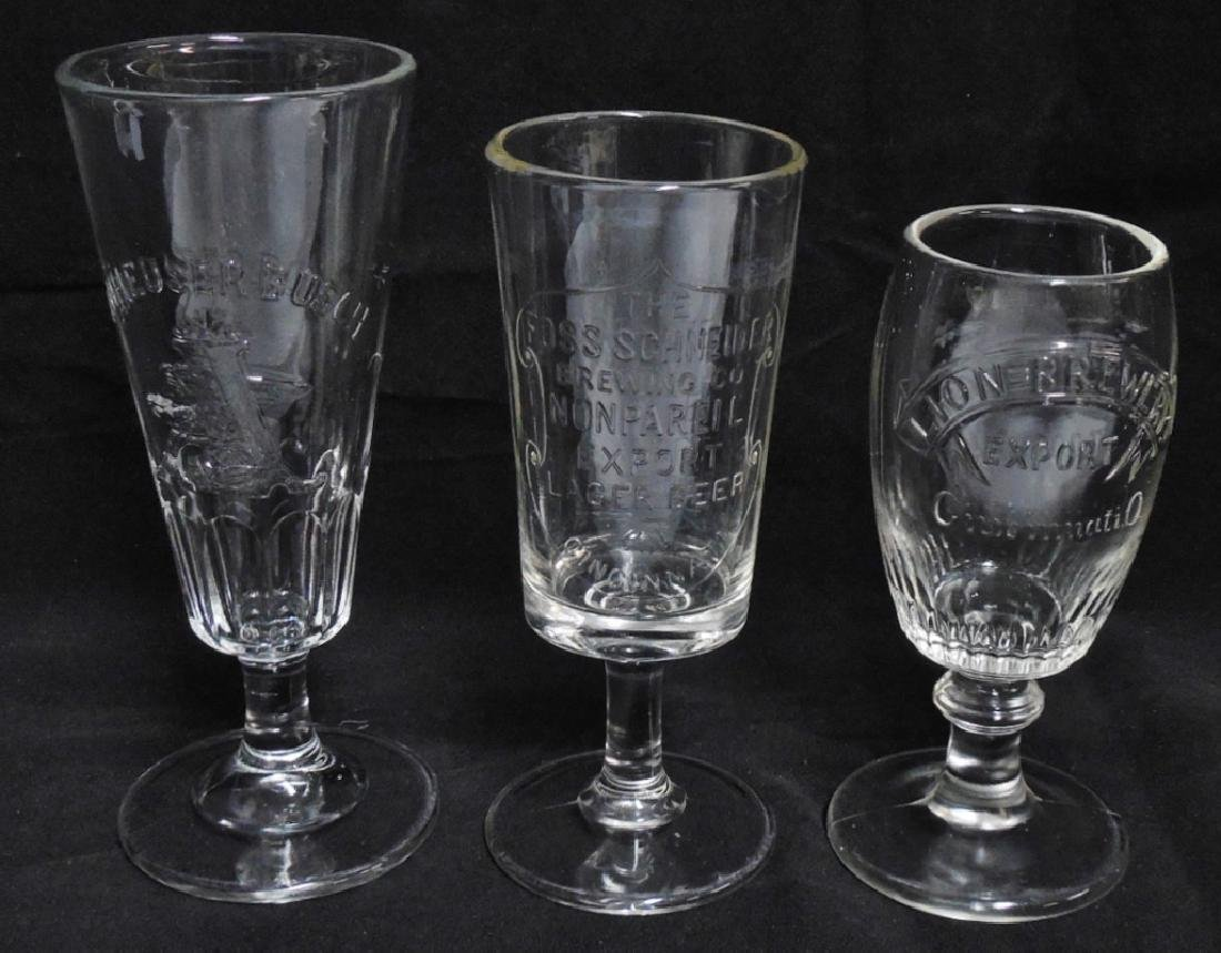 Lot of 3 Beer Glasses with Stems