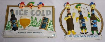 Lot of 2 Molded Plastic Generic Beer Signs
