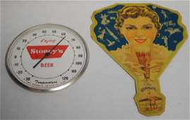 """Lot of 2 """"Stoneys"""" Beer Advertising Pieces"""