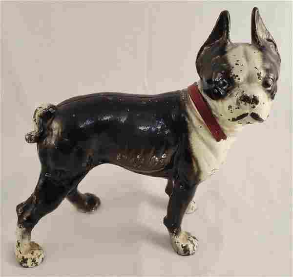 """Cast Iron Dog Doorstop Boston Terrier 10"""" H"""