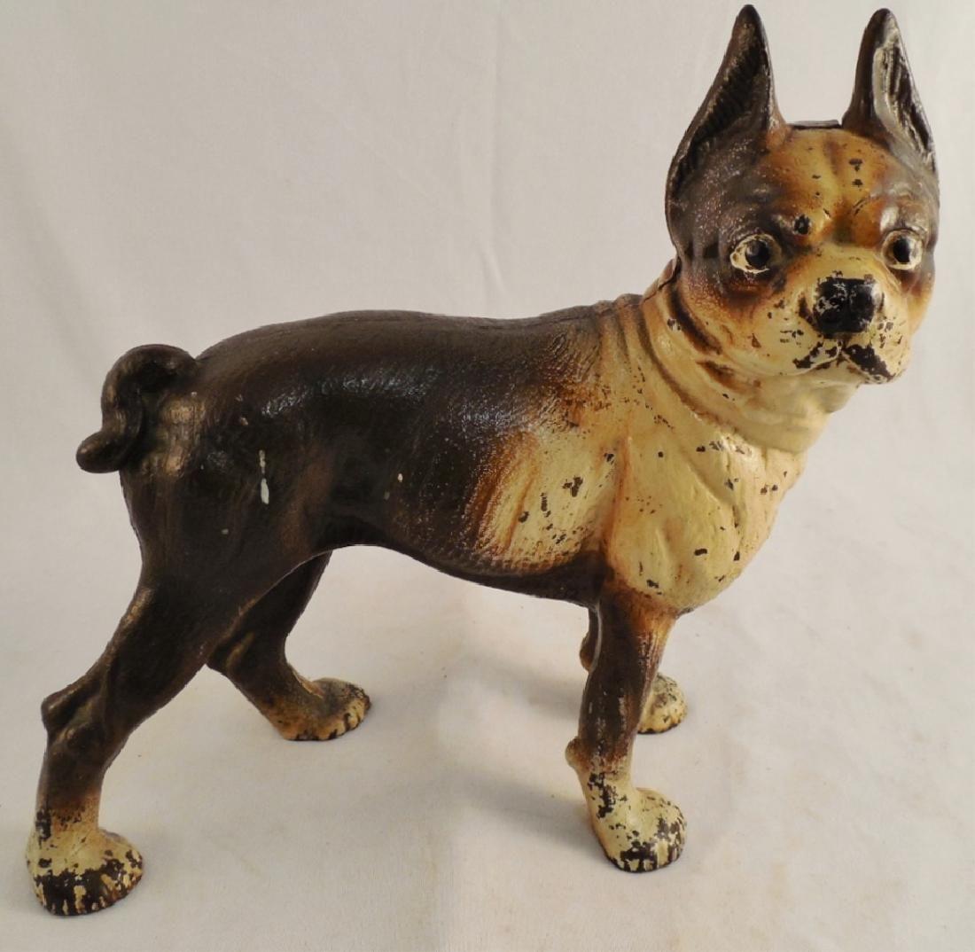 """Cast Iron Dog Doorstop Boston Terrier 9 1/8"""" H"""