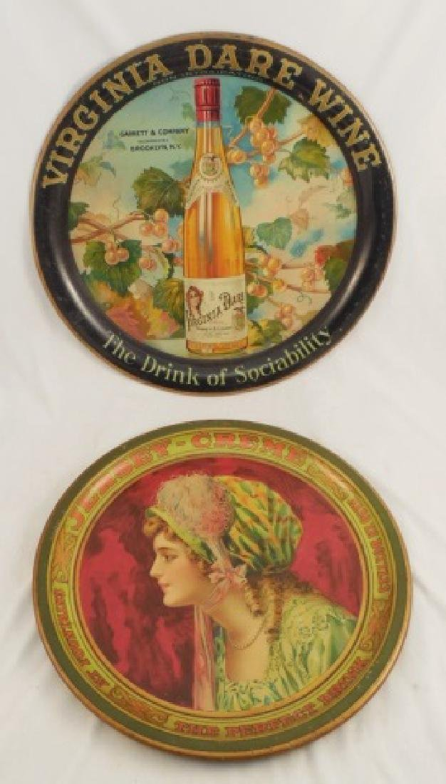 Lot of 2 Tin Serving Trays
