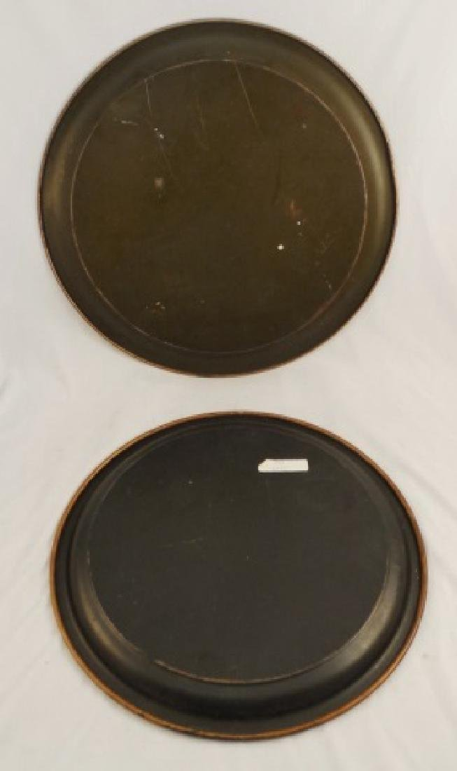 Lot of 2 Tin Serving Trays - 2