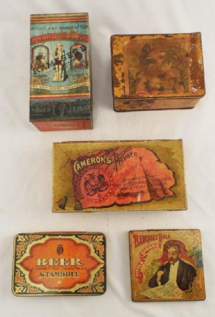 Lot of 5 Assorted Tobacco Related Tins