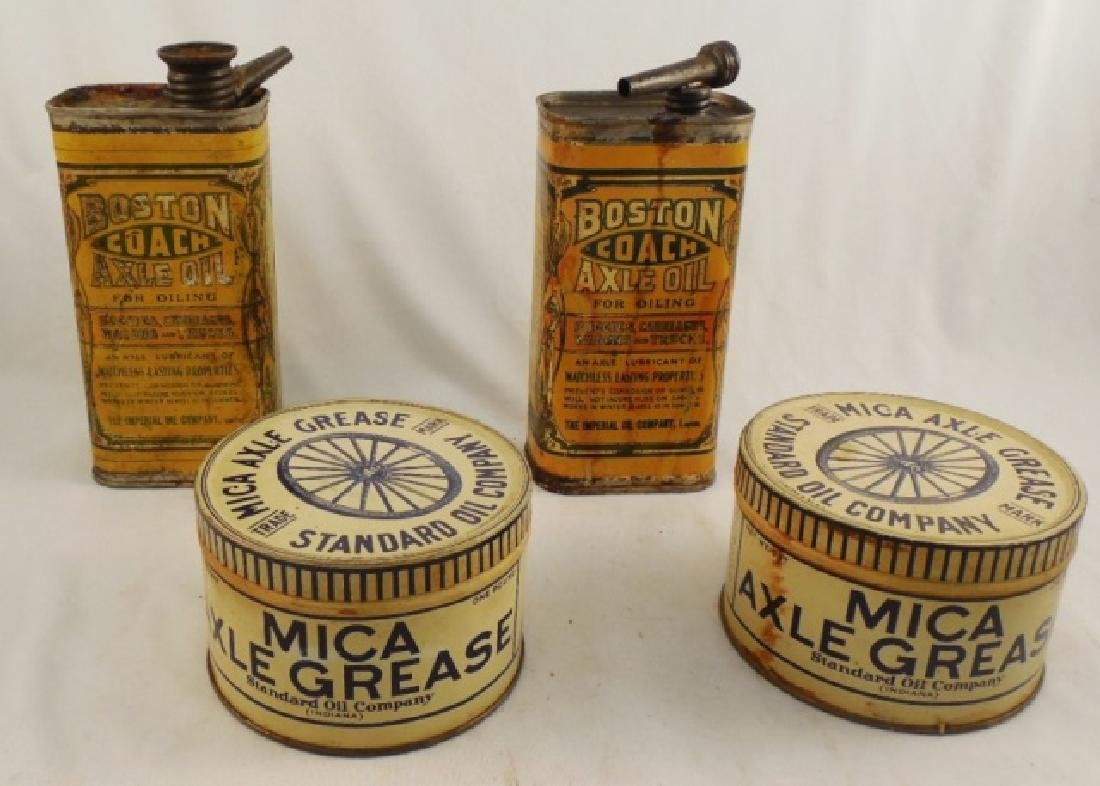 "Lot of 2 ""Axle Oil"" and 2 ""Axle Grease"" Tins"