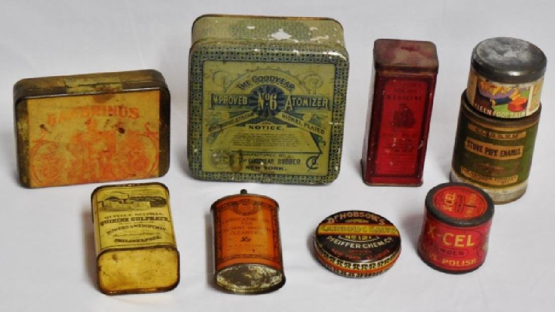 Lot of 9 Assorted Tins