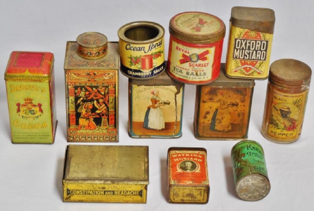 Lot of 10 Assorted Tins and 1 Glass Jar Pepper