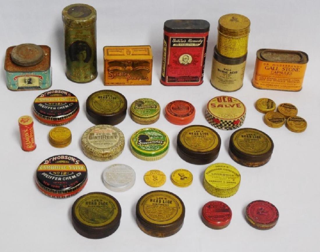 Lot of 31 Assorted Medicinal Tins