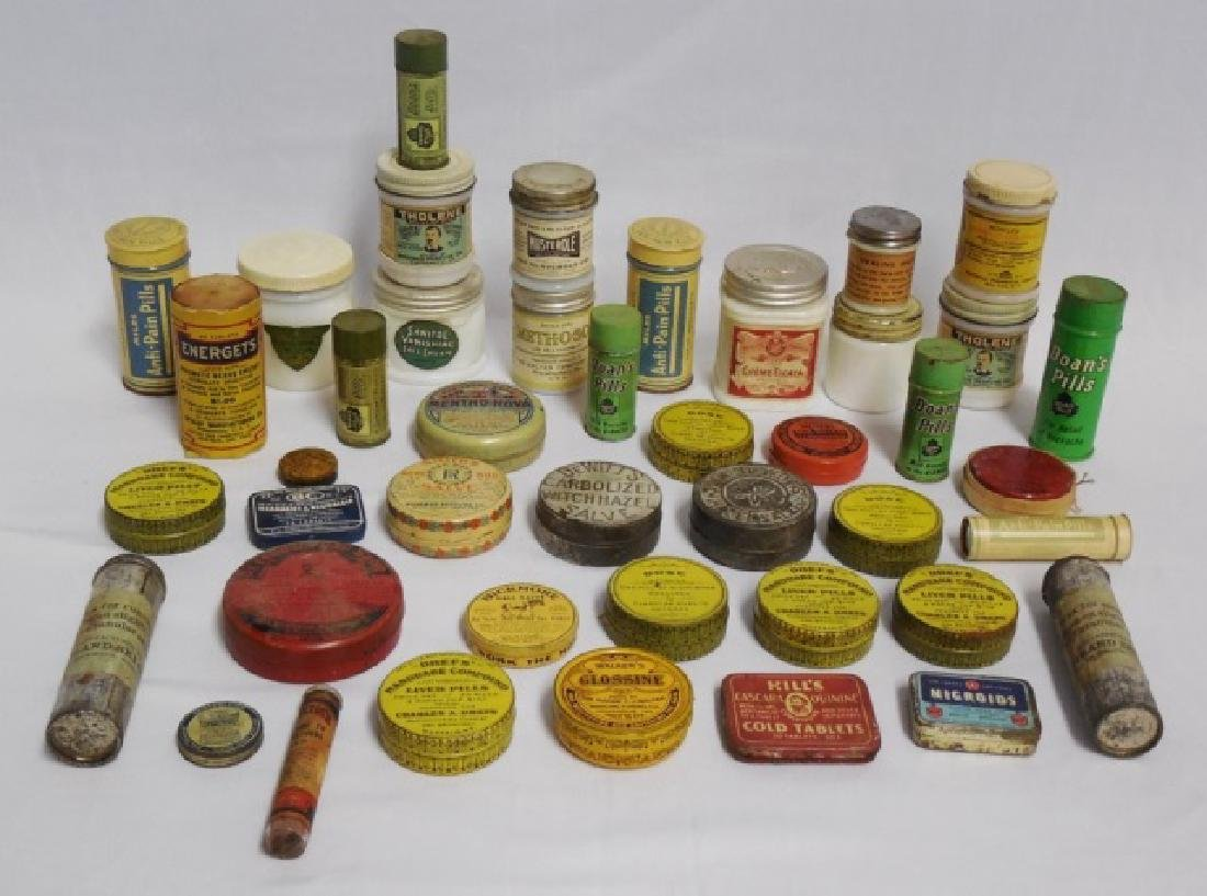 Lot of 43 Assorted Glass Jars and Tins