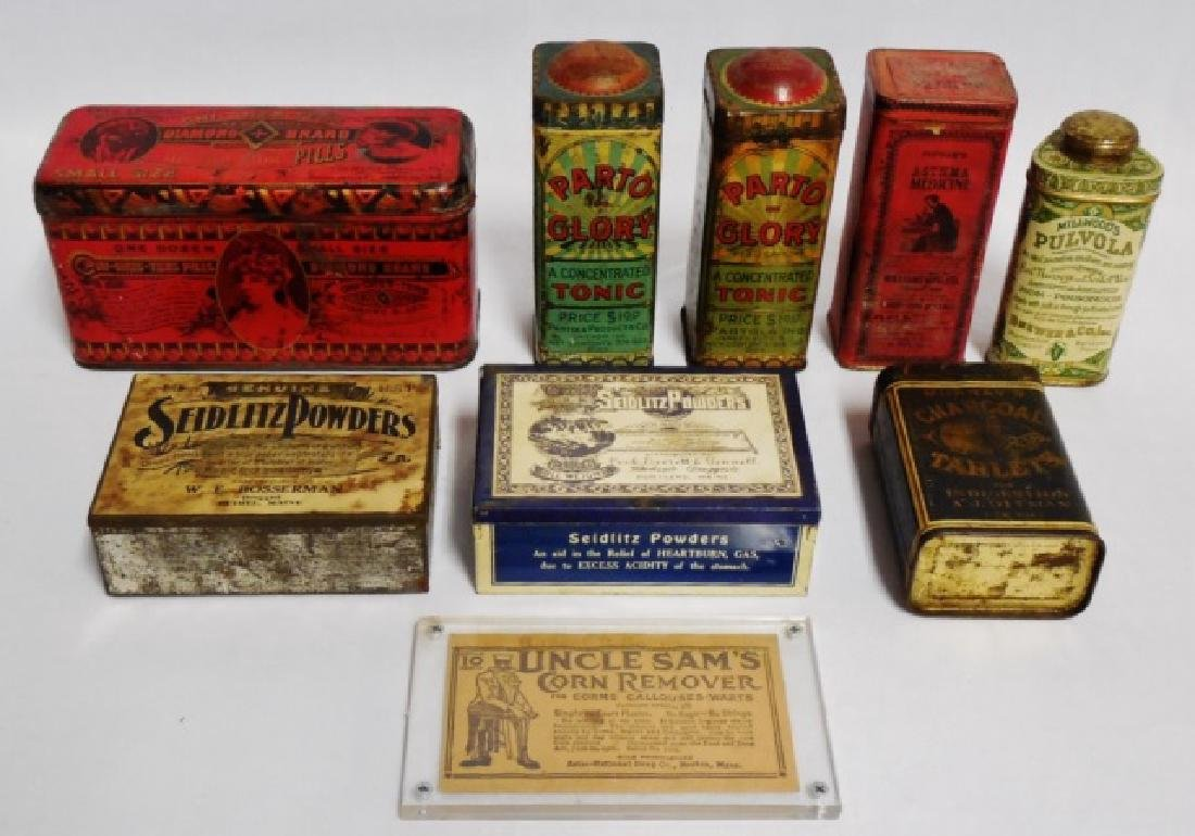 Lot of 8 Assorted Tins and 1 Paper Container