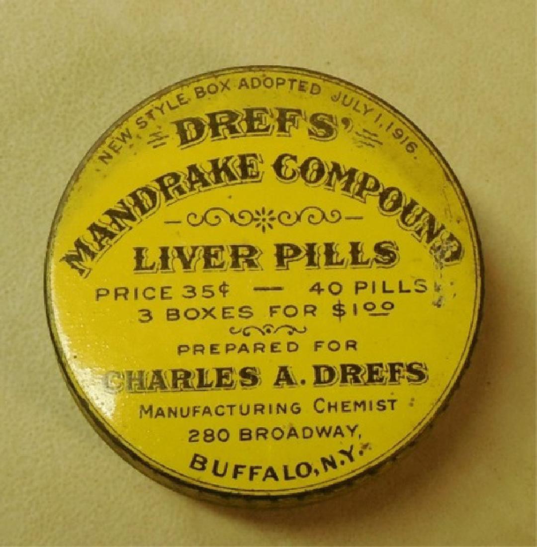 """Lot of 73 """"Dref's Liver Pills"""" Tins - 2"""