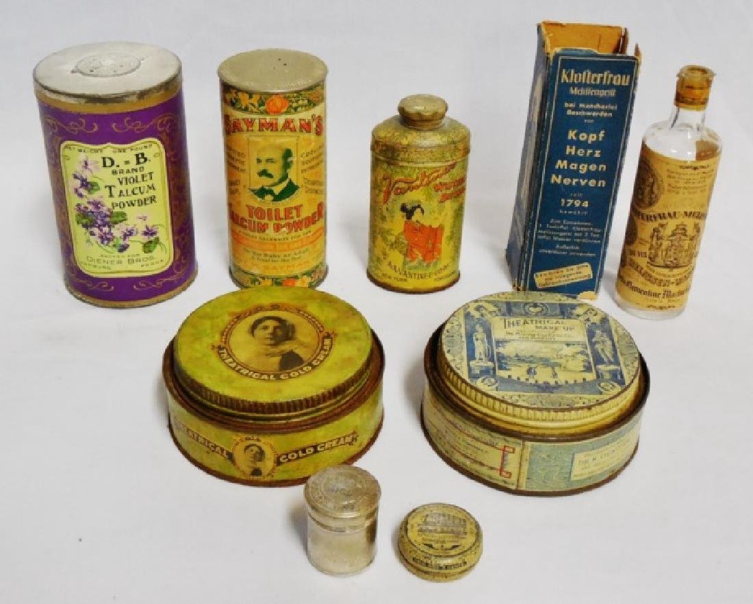 Lot of 7 Assorted Tins and 1 Bottle