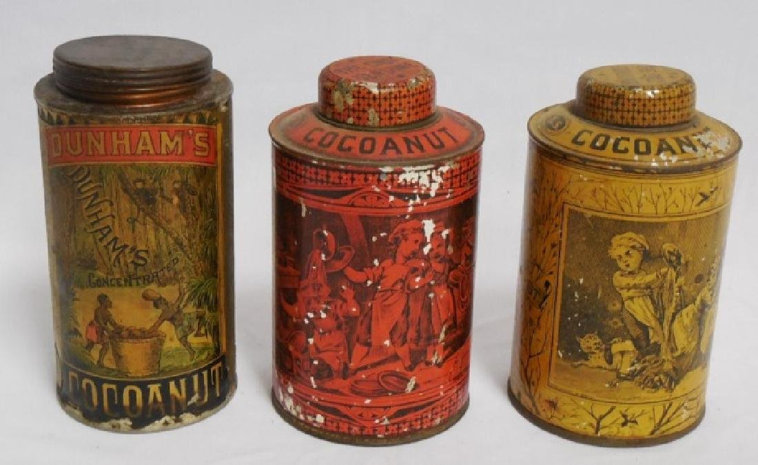 "Lot of 3 ""Cocoanut"" Tins"