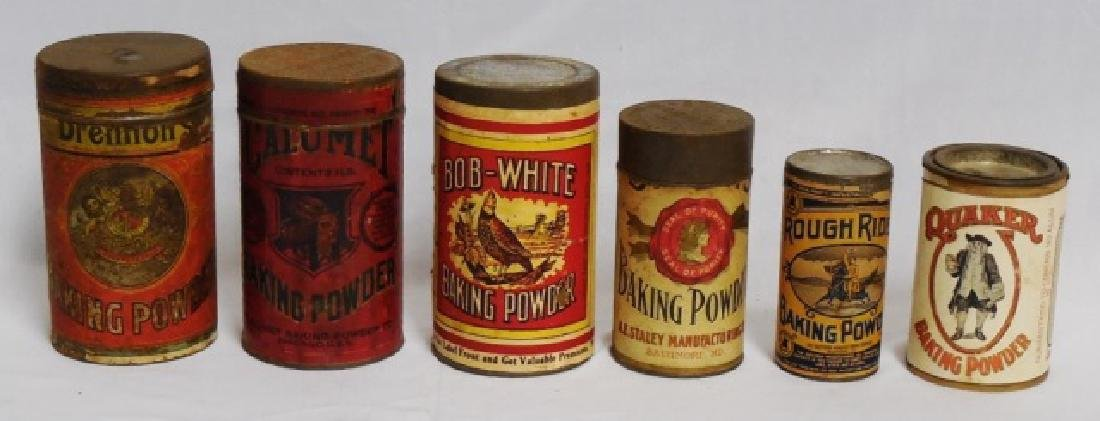 """Lot of 6 Assorted """"Baking Powder"""" Tins"""