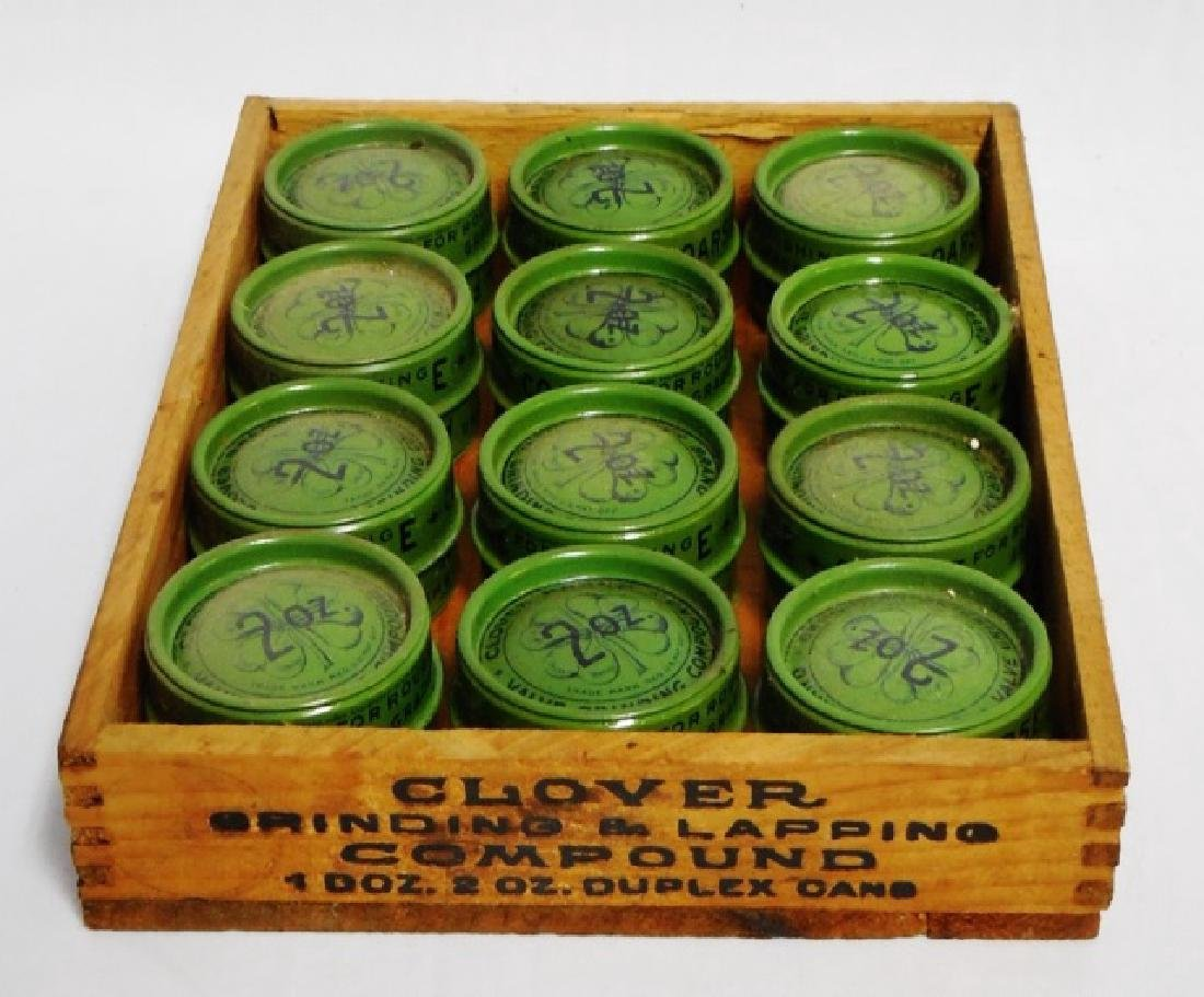 Lot of 12 Tin Cans with Wooden Box