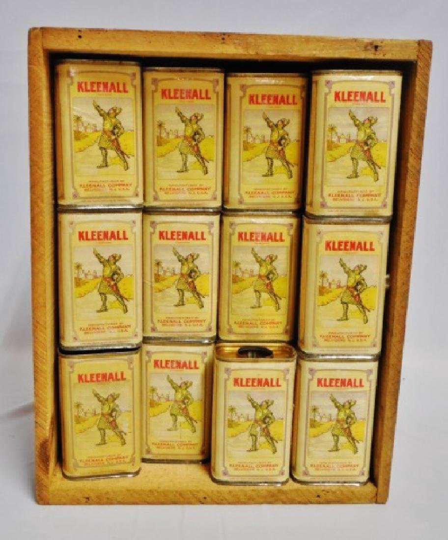 """Lot of 64 """"Kleenall"""" Tins with Wooden Crate"""