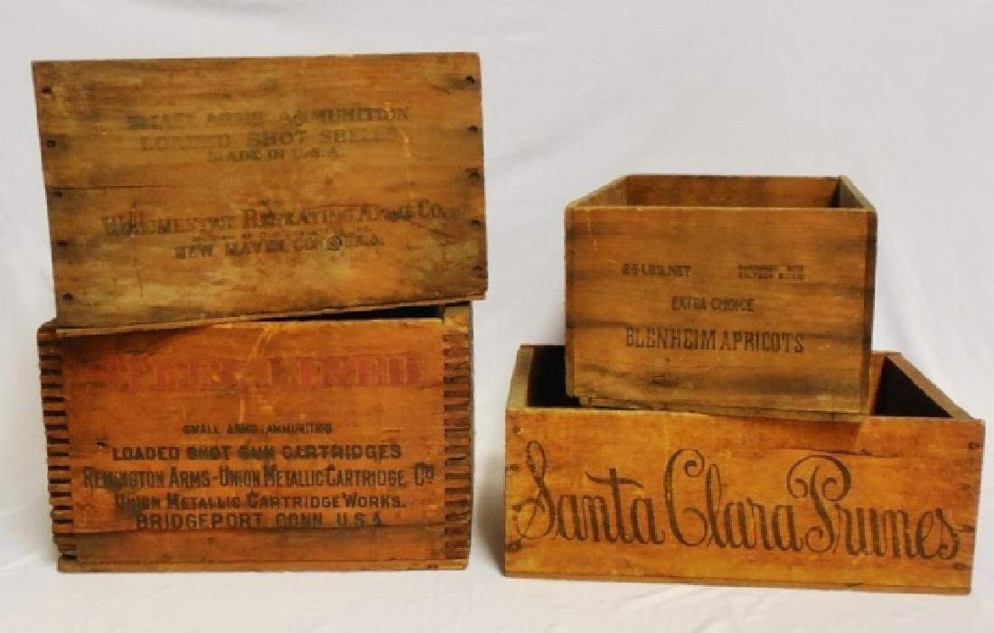 Lot of 4 Assorted Wooden Boxes