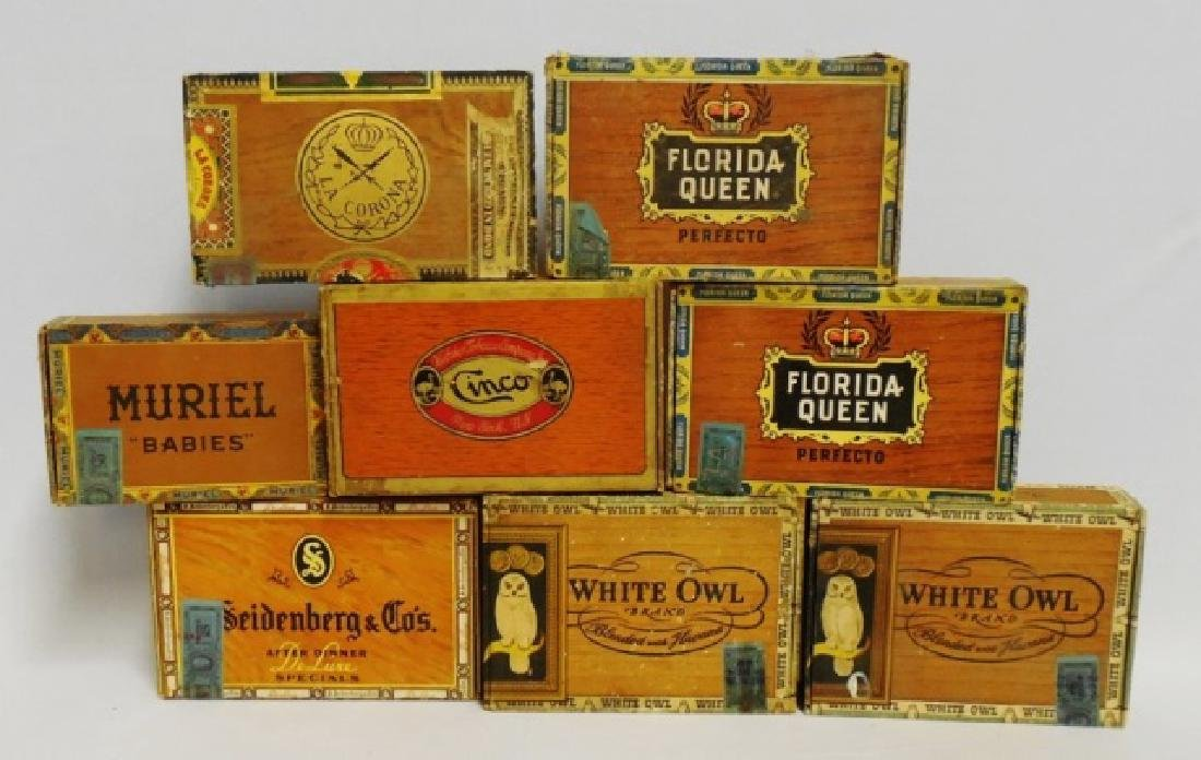 Lot of 8 Assorted Cigar Boxes