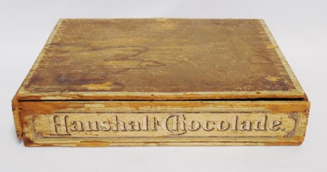 """Haushalt Chocolade"" Wooden Box with Hinged Lid"