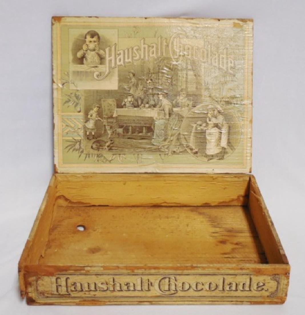 """Haushalt Chocolade"" Wooden Box with Hinged Lid - 2"