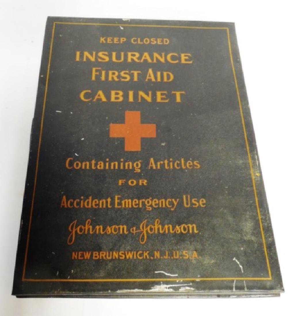 "Metal ""Johnson and Johnson"" Insurance Cabinet"