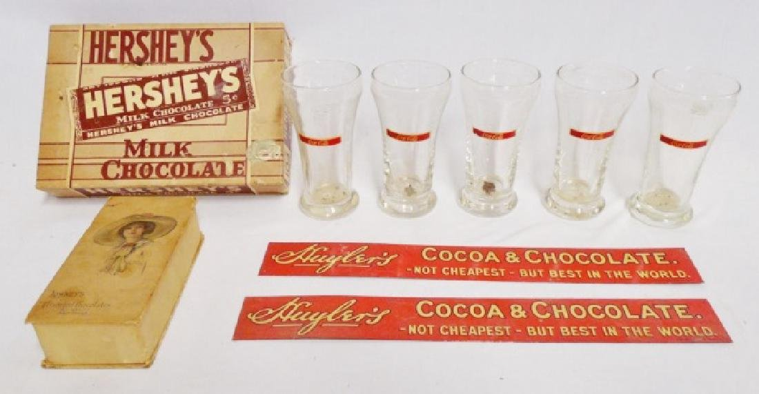 Lot of Chocolate/Coke Boxes/Signs/Glasses