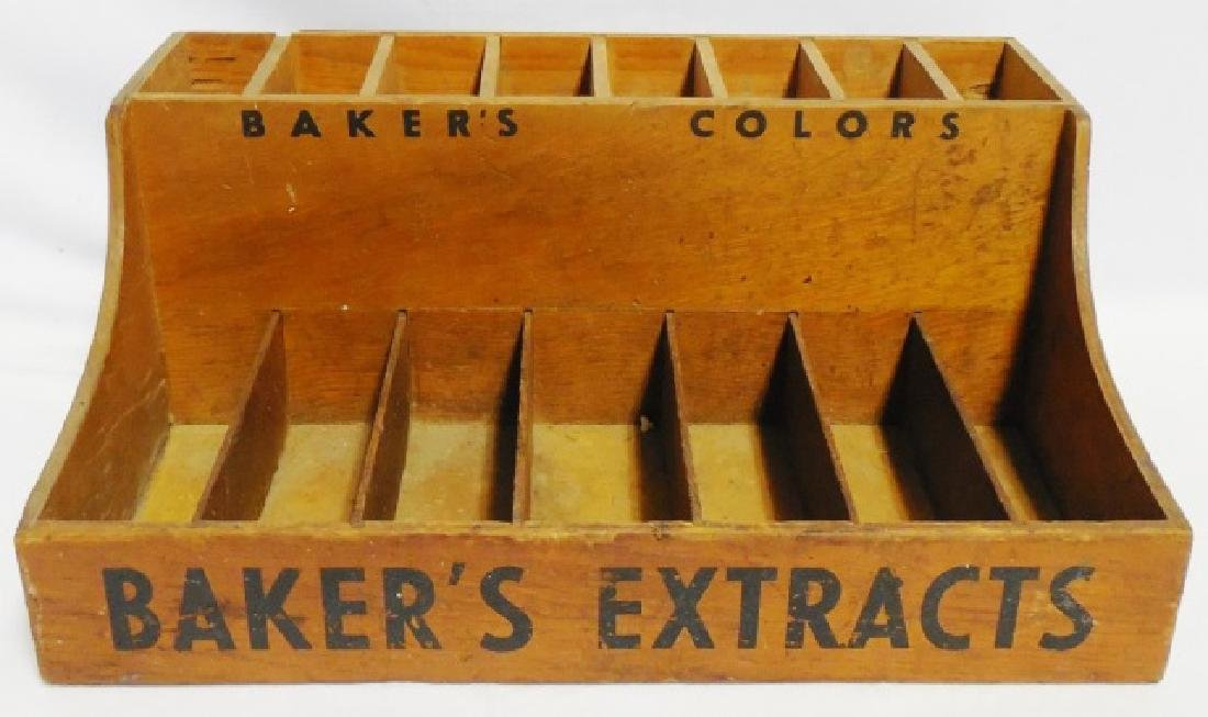 """Baker's Flavoring Extracts and Colors"" Wooden Box"