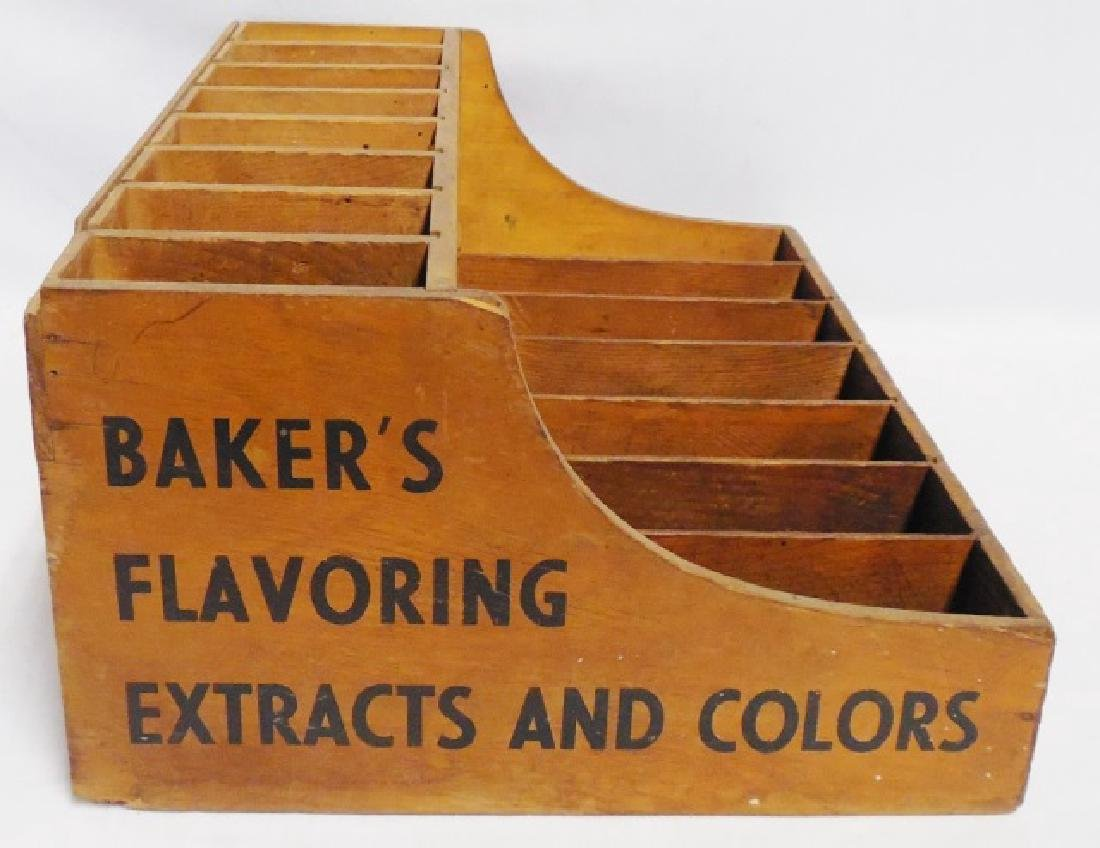 """Baker's Flavoring Extracts and Colors"" Wooden Box - 4"