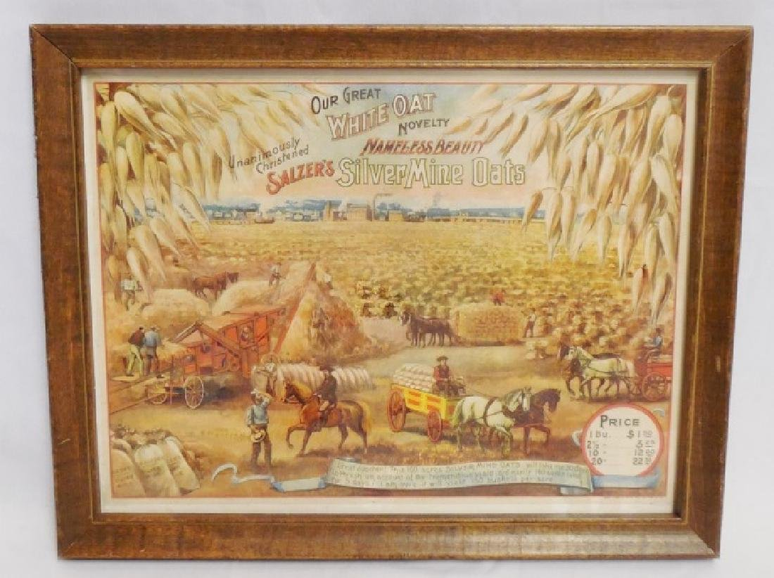 "Framed Ad. ""Salzer's Silver Mine Oats"""