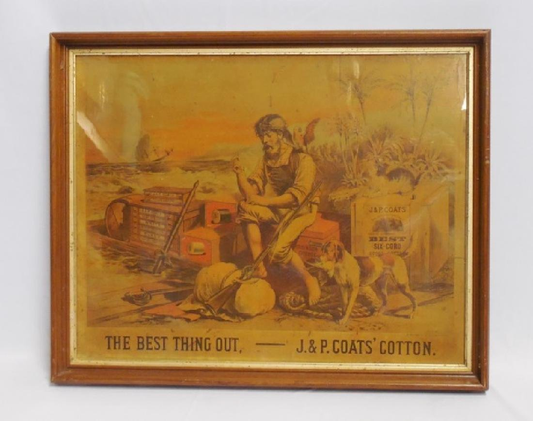 """Framed Advertisement """"J and P Coat's Cotton"""""""