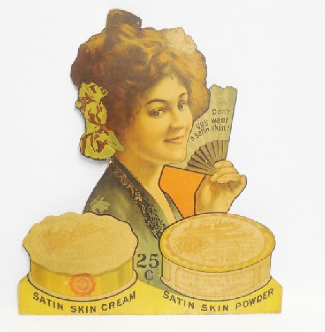 """Satin Skin Cream and Powder"" Cardboard Ad"