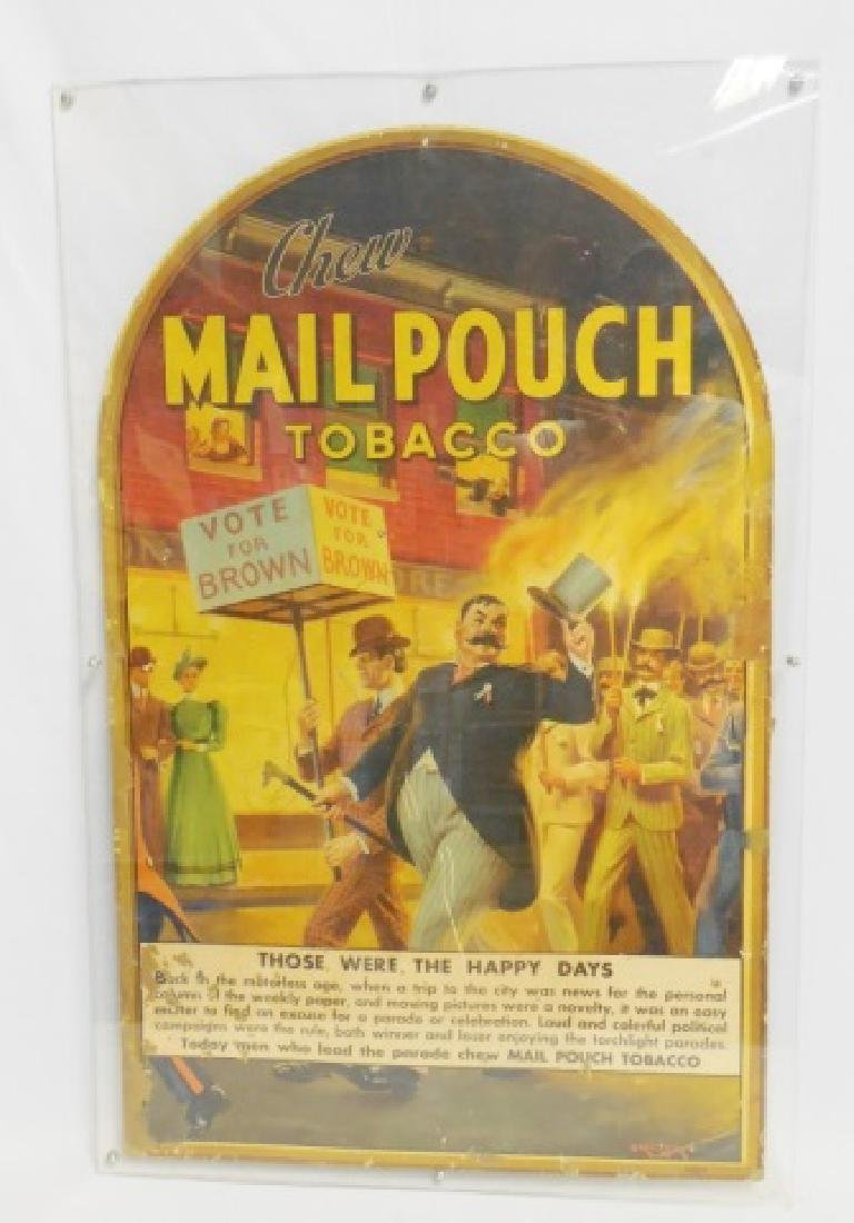 "Cardboard Advertisement ""Chew Mail Pouch Tobacco"""