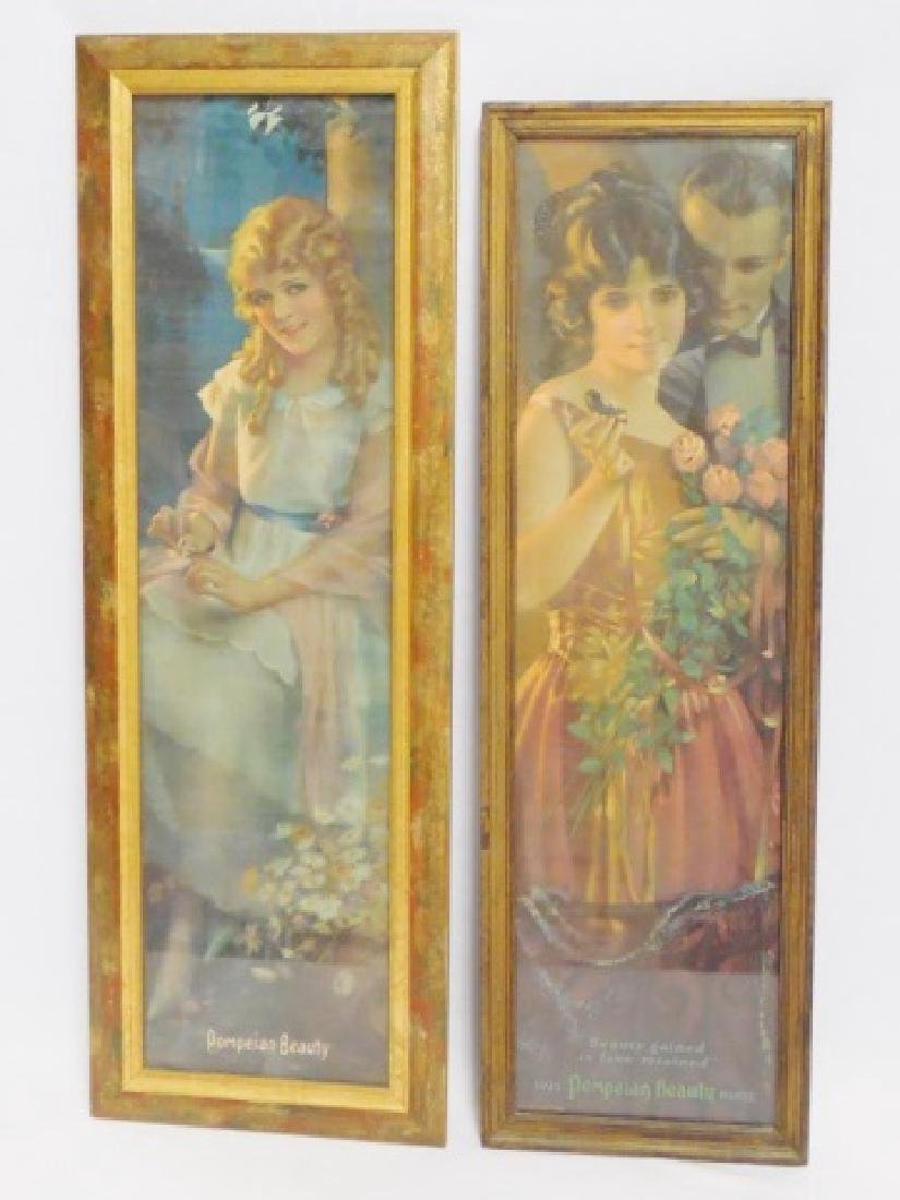 "Lot of 2 Framed ""Pompeian Beauty Products"" Ads"
