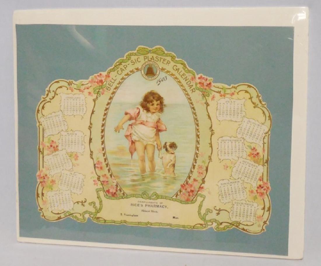 Die-Cut Advertising Calendar Rice's Pharmacy 1903