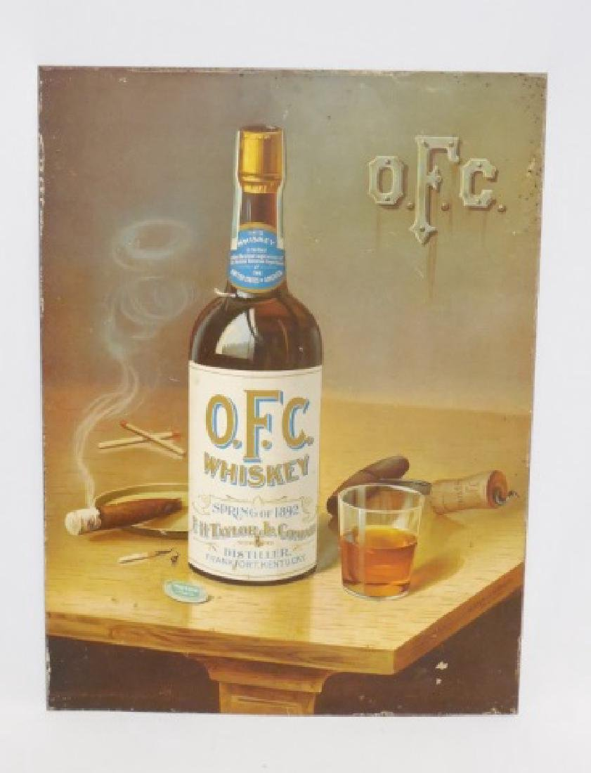 "Tin Advertising Sign ""OFC Whiskey"""