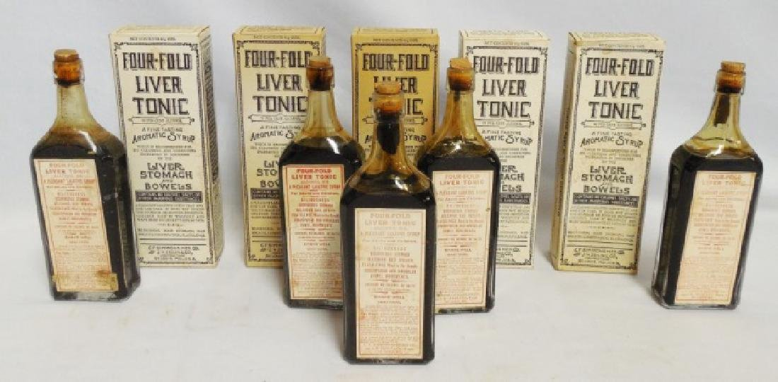 """Lot of 5 """"Four-Fold Liver Tonic"""" Bottles w/Boxes"""