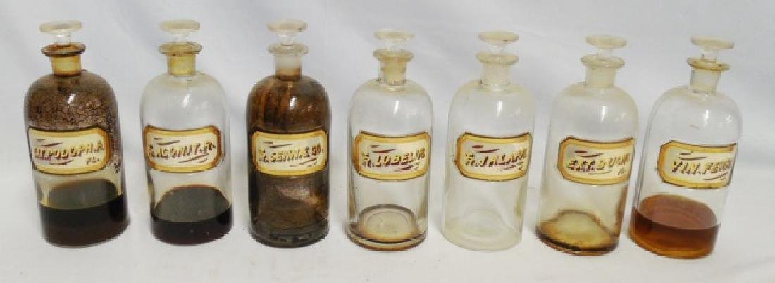 Lot of 7 Apothecary Bottles with Stoppers