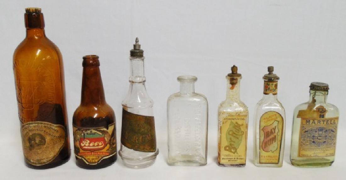 Lot of 7 Whiskey, Rum, Cognac, and Beer Bottles