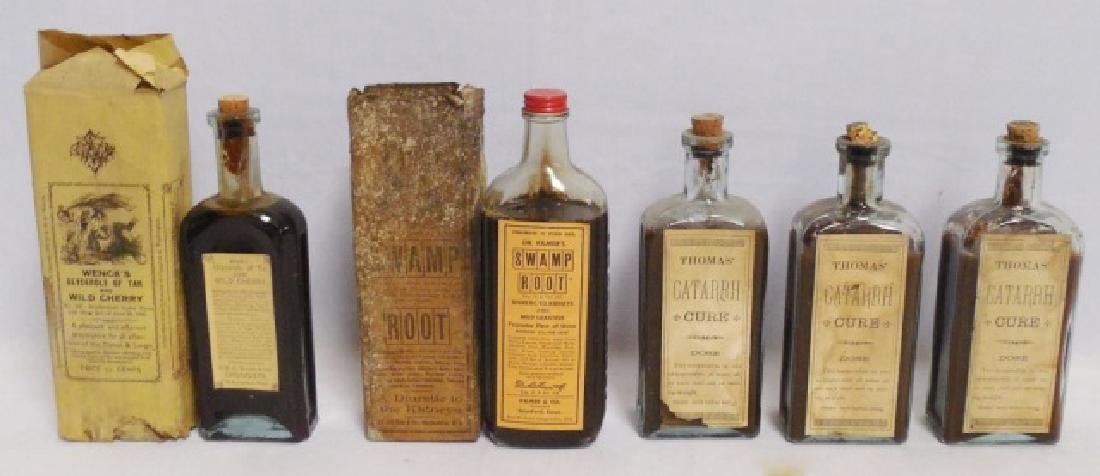Lot of 5 Medicinal Bottles 2 with Boxes