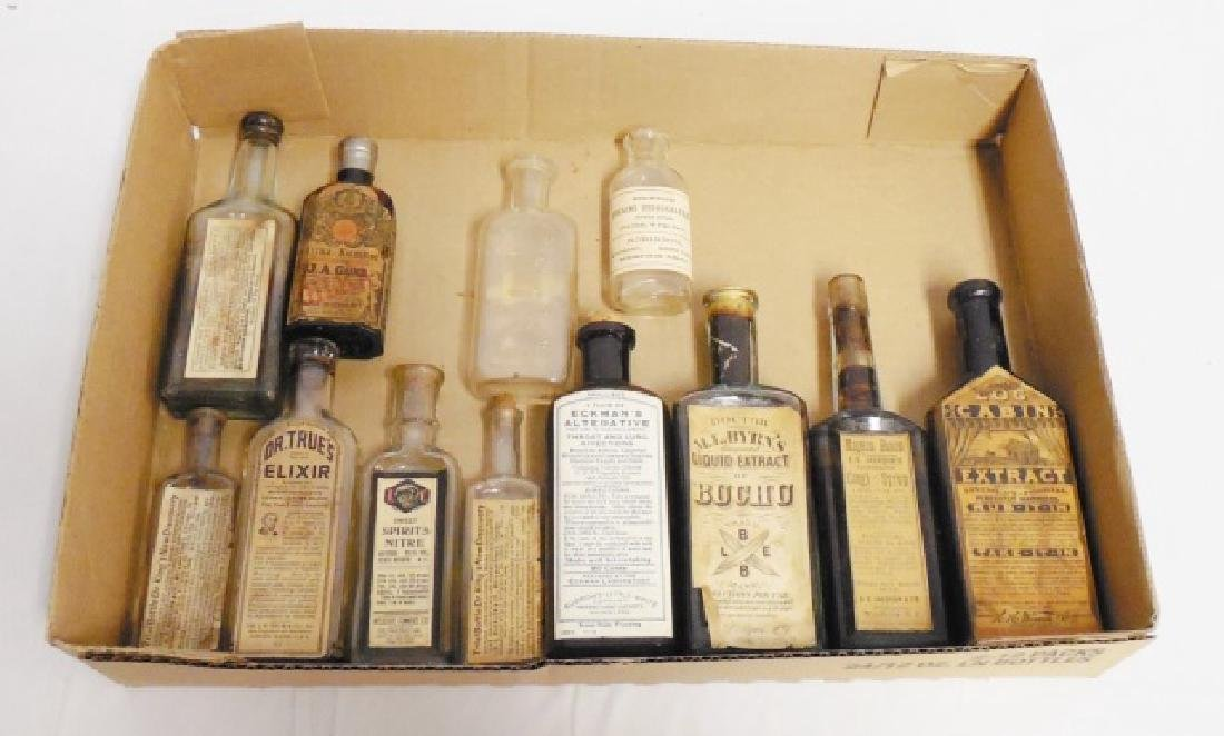 Lot of 12 Assorted Medicinal Bottles