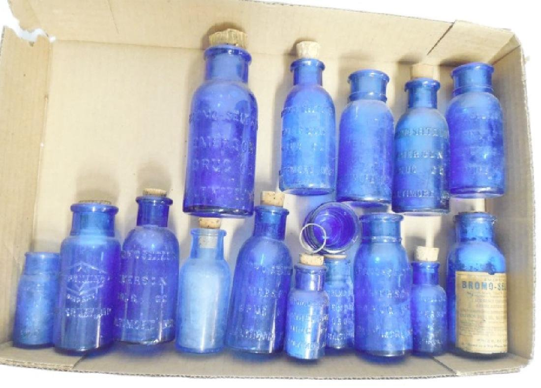 Lot of 16 Assorted Blue Bottles