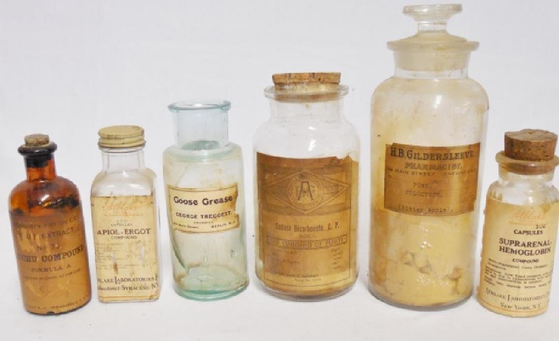 Lot of 6 Apothecary Bottleswith Contents