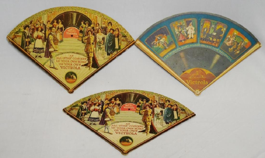 Lot of 3 Victrola Hand-Held Advertising Fans