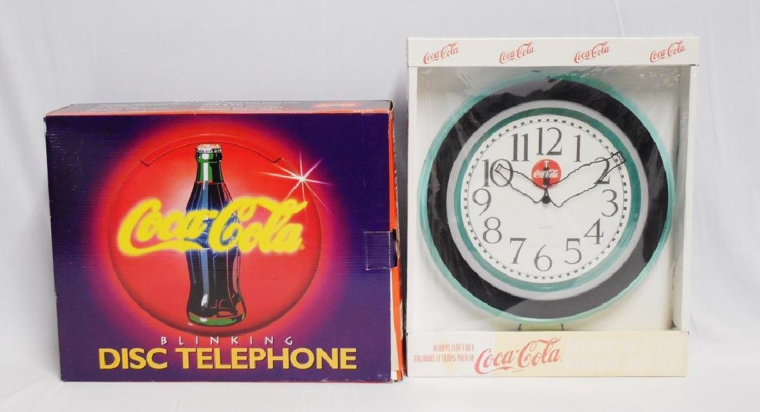 Coca-Cola Blinking Disc Telephone and Wall Clock