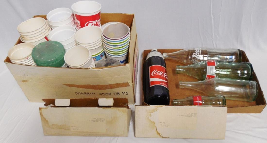 Lot of Assorted Coca-Cola Cups and Bottles