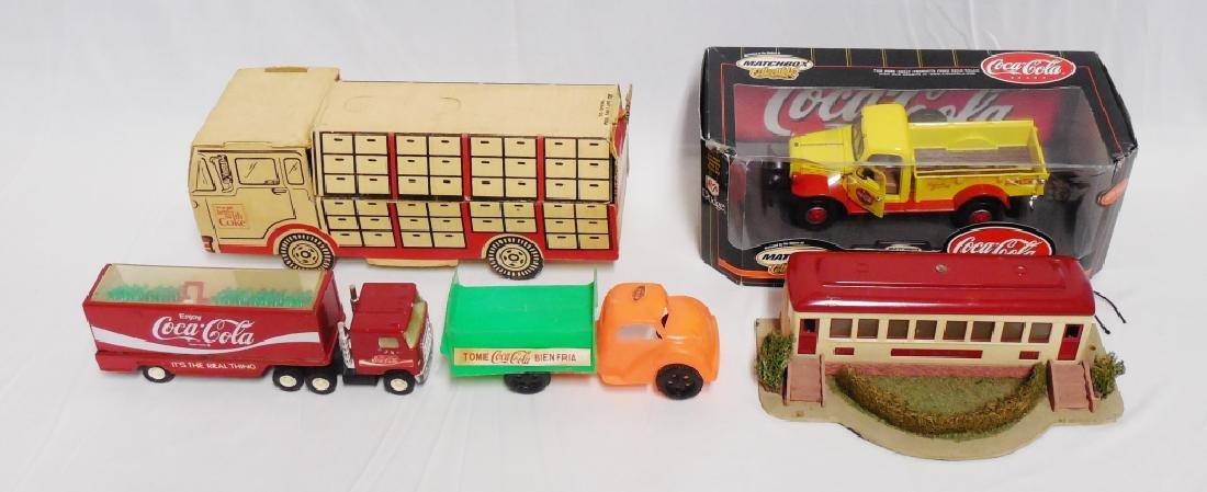 Lot of 4  Coca-Cola Trucks and 1 Lionel Diner Car